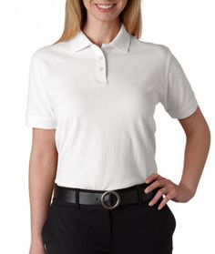 8530 Ultraclub Ladies Classic Pique Polo White