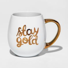Check out this Stay Gold mug! You can find it at Target for only $5.99. #mugs #gifts #christmas #shopping #commissionlink #CoffeeAccessoriesGiftIdeas