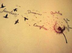 Tattoo... Dreamer.. Wise.. Beautiful.. Lovely.. Fearless