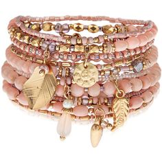 Accessorize 10 x Fleur Eclectic Stretch Bracelets ($16) ❤ liked on Polyvore featuring jewelry, bracelets, accessories, bead charms, beading jewelry, beaded jewelry, stretch jewelry and leaf jewelry