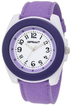 Sprout Women's ST/2027PRPR Purple Organic Cotton Strap Bamboo Dial Eco-Friendly Watch Sprout. $30.00. White colored bamboo dial with black arabic numeral markers at all hour indexes. White corn-resin buckle closure. Organic cotton strap dyed purple. Bio-degradable white corn resin case with purple bezel. Silver-tone stick hour and minute hands with second hand sweep