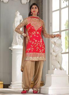 Red Net Patiala Suit