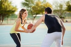 Beautiful young woman playing basketball with her boyfriend on a court outdoors and having some fun , Accounting Logo, Have Some Fun, Business Card Design, Logo Design, Boyfriend, Running, Sports, Beautiful, Basketball