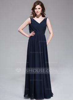 A-Line/Princess V-neck Floor-Length Chiffon Evening Dress With Ruffle Beading (017030913)