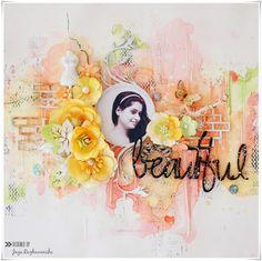 """My Craft World: """"Beautiful"""" - Mixed media layout"""