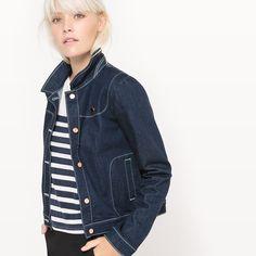 La Redoute Womens Denim Jacket With Cat Brooch Jean Beige, Jeans Bleu, Short En Jean, Jeans Denim, Yamamoto, Dress Me Up, Casual, Style Me, Mini Skirts