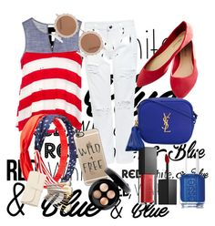 """"""""""" by guzikas ❤ liked on Polyvore featuring Edit, Wet Seal, Yves Saint Laurent, House of Holland, Charlotte Russe, Casetify, Essie, Smashbox, MAC Cosmetics and redwhiteandblue"""