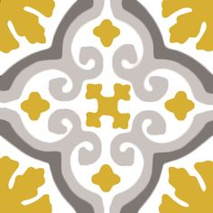 Classic cement tile with arabic pattern in a modern grey, white and mustard colourway. Traditional handmade moroccan tile from Mosaic Factory with contemporary colours Tile Art, Mosaic Art, Patchwork Tiles, Arabic Pattern, Moroccan Tiles, Tile Patterns, Ceramic Painting, Arabesque, Tile Design
