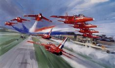 Red Arrows, by Michael Turner (Folland Gnat) Air Fighter, Fighter Jets, Fighter Aircraft, Military Jets, Military Aircraft, Folland Gnat, Raf Red Arrows, Airplane Art, Royal Air Force