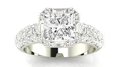 1.3 Carat GIA Certified Cushion-Cut 14K White Gold Designer Popular Halo Style Baguette And Pave Set Round Diamond Engagement Ring (D-E Color VVS1-VVS2 Clarity). Houston Diamond District offers a 30 day return policy on all of its products. Diamond Variance of Weight is +/- 6%. We only sell 100% Natural, un-treated , conflict free diamonds. Direct Manufacturer Prices & Free Certificate of Authenticity.