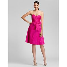 A-line Sweetheart Knee-length Taffeta Bridesmaid Dress – USD $ 89.99