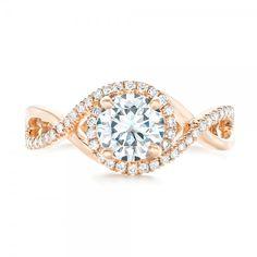 カスタムローズゴールドとダイヤモンドのハローエンゲージリング#102525
