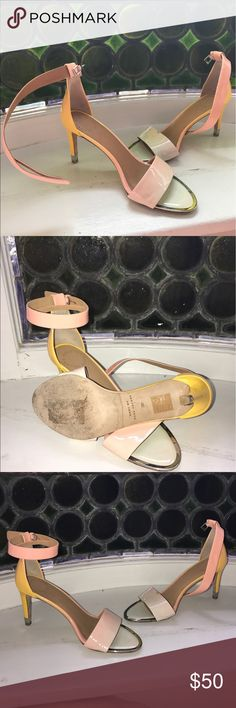 Marc Jacobs Strappy Sunset Heels Good used condition, only worn a few times! Beautiful colorful pink, cream and yellow with chrome accents. Marc By Marc Jacobs Shoes Heels