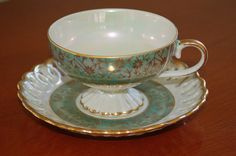 Mint Green and Gold Lusterware Teacup and Saucer Set, Coordinating Set, Mismatched Scroll and Flower Pattern
