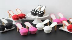 edible high heel shoes made from cupcakes! Perfect for bachelorette or birthday parties! Cupcake Icing, Baking Cupcakes, Cupcake Recipes, Cupcake Cakes, Shoe Cupcakes, Cup Cakes, Lasagna Cupcakes, Taco Cupcakes, Brownie Cupcakes