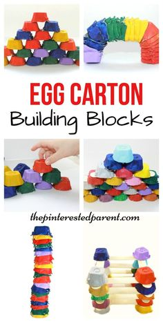 Great loose parts play! Egg Carton building blocks for kids - Engineering & STEM - kids art, crafts, learning activities with recyclables Steam Activities, Learning Activities, Preschool Activities, Recycling Activities For Kids, Recycling Projects For Kids, Toddler Learning, Art Center Preschool, Quiet Time Activities, Creative Activities For Kids
