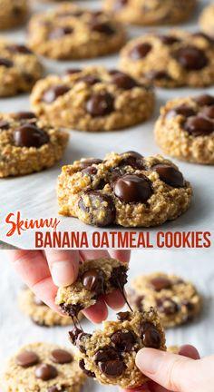 Banana Oatmeal Chocolate Chip Cookies, Oatmeal Breakfast Cookies, Healthy Oatmeal Cookies, Chocolate Chip Recipes, Chocolate Chips, Ripe Banana Recipes Healthy, Skinny Cookies, Sugar Free Cookies, Banana Bread