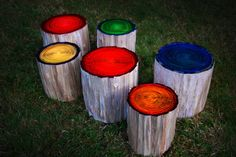 Glowing Tree Stump Stools perfect for your campfire