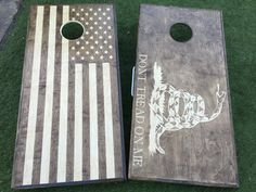 American Flag Dont Tread On Me Stained Cornhole by WGCornhole