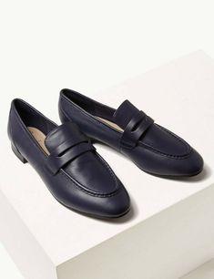 New Navy Marks & Spencer Women's/Girls Leather Penny Loafers shoes /flats Size 8 #MarksandSpencer #BalletFlats