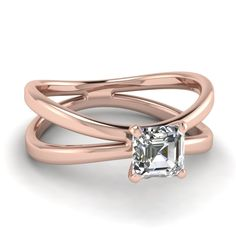 Split Shank Solitaire Ring Square Shaped diamond Solitaire Engagement Rings in 14K Rose Gold exclusively styled by Fascinating Diamonds