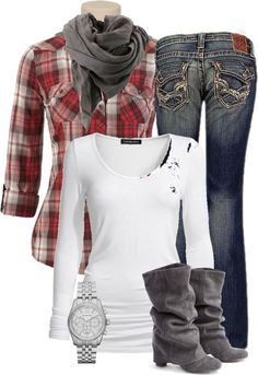 Dress up Fall plaid. I want the boots so bad!