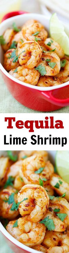 Tequila Lime Shrimp - shrimp with tequila, lime & cilantro! Crazy easy & budget friendly recipe, SO good and takes 15 mins to make! | http://rasamalaysia.com