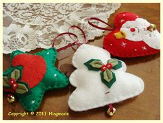 I wanna make these Handmade Christmas Crafts, Felt Christmas Decorations, Christmas Ornaments To Make, Christmas Sewing, Christmas Love, Felt Ornaments, Christmas Projects, Felt Crafts, Holiday Crafts