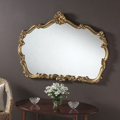 Overmantle Mirror Ornate Gold 122 (W) x 81 (H) cm Gold Framed Mirror, Art Deco Mirror, Ornate Mirror, Oval Mirror, Gold Mirrors, Modern Mirror Design, Overmantle Mirror, Arch Mirror, Traditional Mirrors