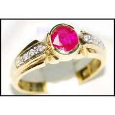 http://rubies.work/0369-sapphire-ring/ Genuine Diamond Solitaire Ruby Ring 18K Yellow Gold by BKGjewels