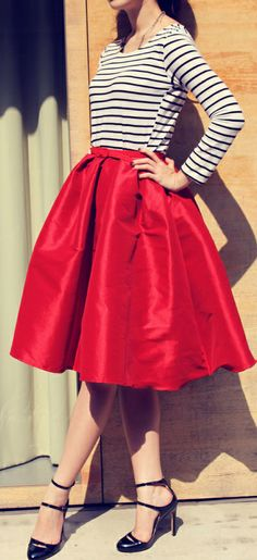 red taffeta swing skirt and black and red striped shirt .... Very cute a48ba654abc3