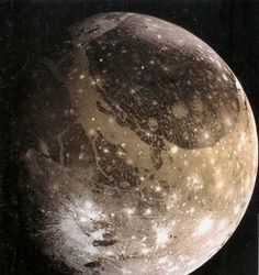 Ganymede  A satellite of Jupiter and the largest moon in the Solar System. It is the seventh moon and third Galilean satellite outward from Jupiter. Completing an orbit in roughly seven days, Ganymede participates in a 1:2:4 orbital resonance with the moons Europa and Io, respectively.