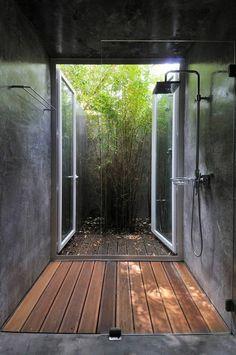 meuble salle de bain bois exotique pas cher