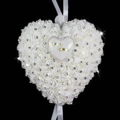 Hang Ring Pillow With Transprent Box Heart Design Rhinestone And Pearl - Wedding Look