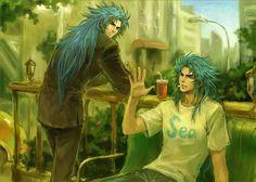 Saga and Kanon   在公園休息的 撒加 和 加隆