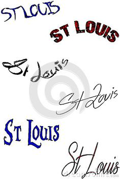 St Louis Text Sign collage St Louis text sign on white Background.