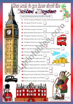 English teaching worksheets: The United Kingdom United Kingdom Map, Great Britain United Kingdom, English Fun, English Lessons, Trivia Questions For Kids, Uk Facts, London Activities, Geography Worksheets, Holiday Homework