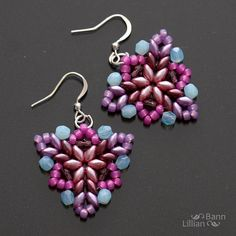 no tut - super cute! Beaded Earrings Patterns, Seed Bead Earrings, Diy Earrings, Beading Patterns, Bead Jewellery, Beaded Jewelry, Handmade Jewelry, Bead Crafts, Jewelry Crafts