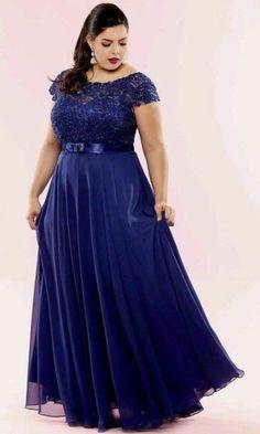 Dark blue elegant long dress for plus size lady African Fashion Dresses, African Dress, Curvy Girl Fashion, Plus Size Fashion, Godmother Dress, Plus Size Inspiration, Plus Size Prom Dresses, Beautiful Dresses, Evening Dresses