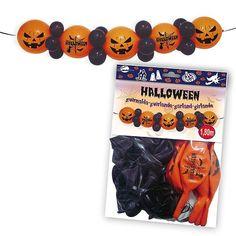 Modelo 86-5557  Guirnalda de globos para Halloween  Se acerca la fiesta más terrorífica del año: Halloween. Así que decora con esta guirnalda formada por 6 globos calabazas y 19 globos en negro.  Las calabas tienen sonrisa maléfica y los ojos rasgados, dará un toque de misterio a tu casa. La guirnalda mide 1.8 metros de largo. Con ella podrás decorar las paredes, puertas, muebles o techos.