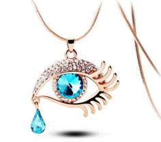 Blue Eye With Tears Rose Gold Plated Necklace - 1