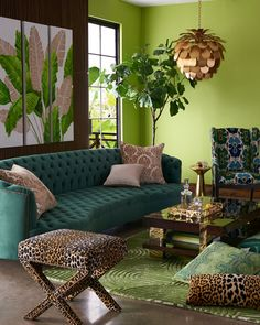 Haute House Vaughn Tufted Velvet Sofa 126 is part of Bohemian interior design - Shop Vaughn Tufted Velvet Sofa 126 from Haute House at Horchow, where you'll find new lower shipping on hundreds of home furnishings and gifts Green Rooms, Decor, Room Colors, Living Room Designs, Bohemian Interior Design, Interior Design, Tropical Home Decor, Home Decor, House Interior