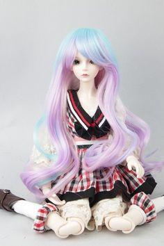 "8-9/"" 1//3 BJD Long Light Pink Blonde Wig Wavy LUTS Doll SD DOD MSD Fluffy Hair"