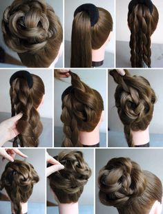 Braided bun model – haarschnitte – Braided bun model, – – Tutorial Per Capelli Donut Bun Hairstyles, Braided Hairstyles Updo, Trendy Hairstyles, Wedding Hairstyles, Hairstyle Ideas, Hair Bun Donut, Updos, Doughnut Bun, Bun Updo