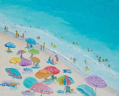 Original Beach oil Painting Summer Love.  An impressionist beach painting of a crowded beach scene. Beach Art for coastal decor, bathroom art or
