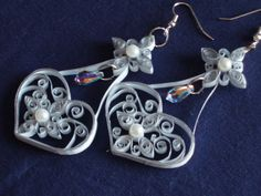 Quilled Paper Filigree Heart Bridal Necklace and Earring Set. $90.00, via Etsy.