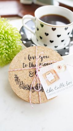 I Love You To The Moon and Back Coasters - Set of 6 Nursery Decor - Valentines Day Decor - Gifts for Mom - Engagement Gift for Couples