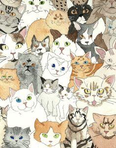 Illustration Print Cats By thefloralprince sur Etsy, $5,00