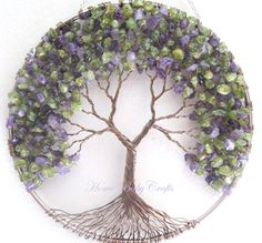 Peridot Lilac Tree, Wire Tree of Life Wall Hanging, Sun Catcher in Amethyst and…