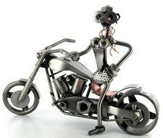 Nuts & Bolt Art Work   Biker Girl Nuts and Bolts Figure